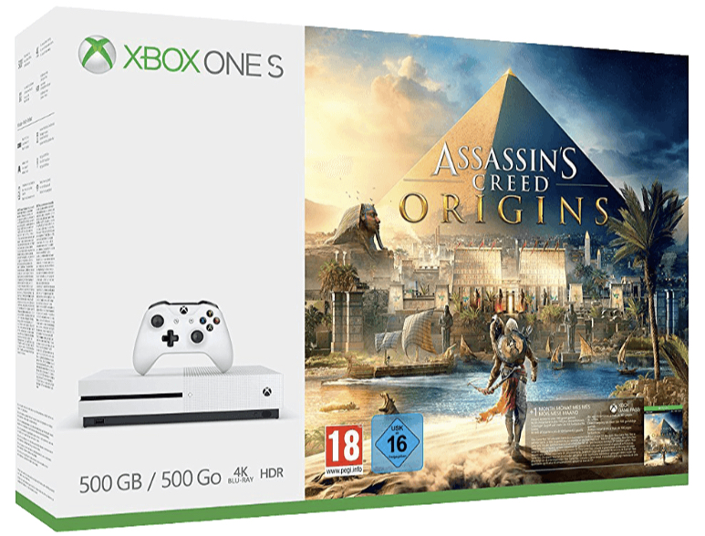 MICROSOFT Xbox One S 500GB Konsole Assassinss Creed Origins Bundle All In One Entertainment System in Weiss kaufen SATURN