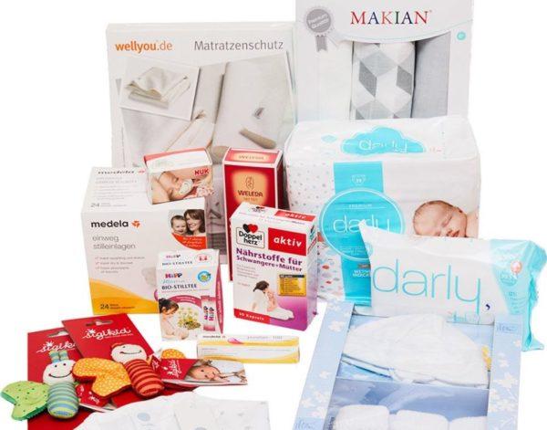 Windeln de Storchenbox Babybox mit 14 Produkten und Gutscheinen 1