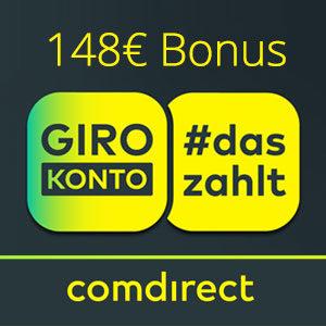 [TOP] Kostenloses comdirect Girokonto + 148€ Prämie (auch ohne Gehalt)