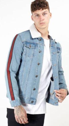 2018 10 19 16 14 51 BRAVE SOUL Larson Tape Stripe Borg Collar Denim Jeans Jacke MJK LARSONTAPE