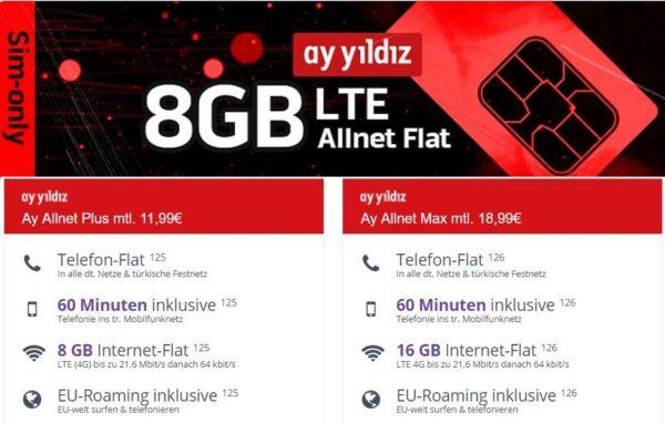 Ay Yildiz o2 Allnet Flat mit 8GB LTE