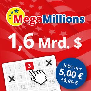 Mega Millions: 3 Felder für den 1,6 Mrd. (!) Dollar Jackpot für 5€ (für Neukunden)