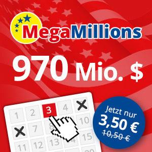 Mega Millions: 3 Felder für den 970 Mio. (!) Dollar Jackpot für 3,50€ (für Neukunden)