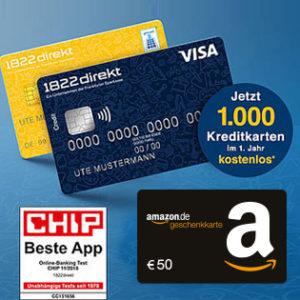[TOP] Kostenloses 1822direkt Girokonto + VISA + bis zu 200€ Prämie