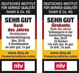 Bank des Jahres Girokonto 2018