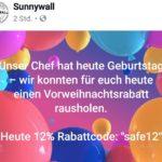 12% heute bei Sunnywall.de (Wandaufkleber & mehr)