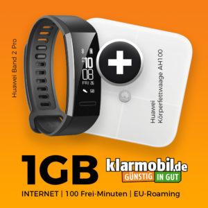 D2 Tarif mit 100 Min + 1GB UMTS für 4,99€ mtl. + Huawei Fitness Set