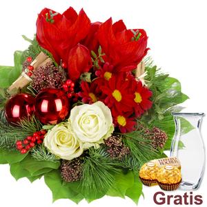 Blumenstrauss Weihnachten inkl. Vase 2 Ferrero Rocher
