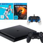 Gönn dir Dienstag mit z.B. PS4 Slim (1TB) + Controller + FIFA19 + Tomb Raider