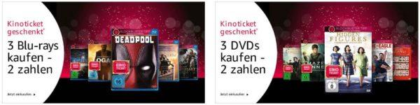 2 Filme kaufen und gratis Kino Ticket 3 kaufen 2 zahlen