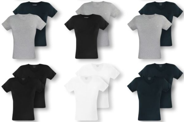2er Pack T Shirts kurzarm C Neck V Neck Herren Armani 1