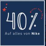 40% Rabatt auf Nike & Under Armour, z.B. Nike T-Shirts für 12€
