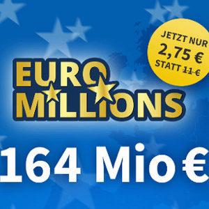 💰 Euro Millions Jackpot (164 Mio) - vier Felder ab nur 2,75€ für NK