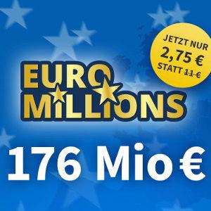 💰 Euro Millions Jackpot (176 Mio) - vier Felder ab nur 2,75€ für NK