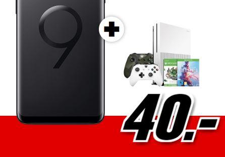 Flat Allnet Plus Aktion mit Samsung Galaxy S9 plus Dual SIM und XBOX ONE S 1TB Sparket mit ueber 100 Spielen