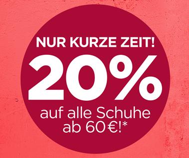 20% Gutschein für Schuhe ab 60€, z.B. Adidas, Tamaris, usw