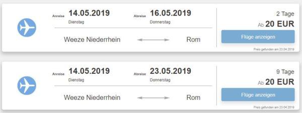 Hin Rueckflug Rom