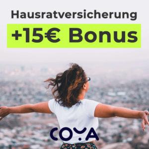 *6 Monate GRATIS* 📢 Coya Hausrat ab 1,79€ mtl. + 15€ Bonus (tgl. kündbar)