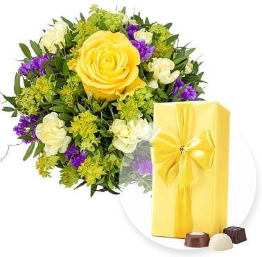 Blumenstrauss Carpe Diem und Belgische Pralinen