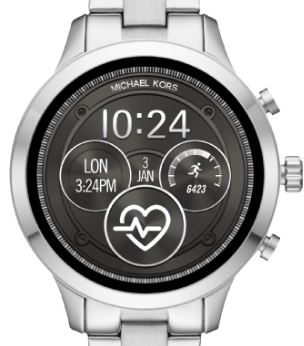 MICHAEL KORS MKT5044 Smartwatch Edelstahl Edelstahl 190 mm Silber Schwarz  M 1