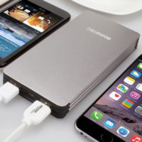 NINETEC 15000mAh PowerBank mobiler Akku fuer iOS Android NT615 Silber