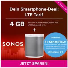 [Knaller] o2 Allnet-Flat + 4GB LTE + Sonos Play:1 😲 (eff. mit Ersparnis)
