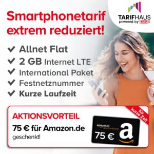 [Knaller] 💥 o2 Allnet-Flat mit 2GB LTE + E-Abo der CHIP + 75€ Amazon-GS