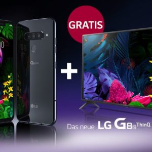 "Eff. 375€ Ersparnis 😲📲 LG G8s ThinQ + 43"" UHD-TV + D1 Allnet mit 8GB LTE"