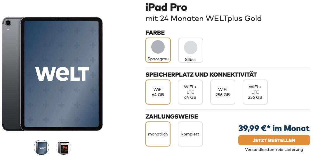 iPad Pro 11 mit 24 Monaten WELTplus Gold ab 3999 im Monat 2019 06 25 11 00 47
