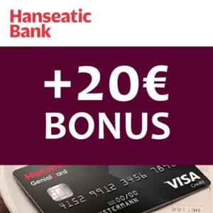 Tipp 🤑 20€ Prämie für die gebührenfreie Hanseatic Genialcard (VISA)