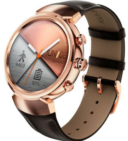 ASUS ZenWatch 3 WI503Q Smartwatch Edelstahl Leder 118 mm Rosgold mit Lede