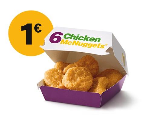 6er Chicken McNuggets für 1€ (McDonalds App) - MyTopDeals