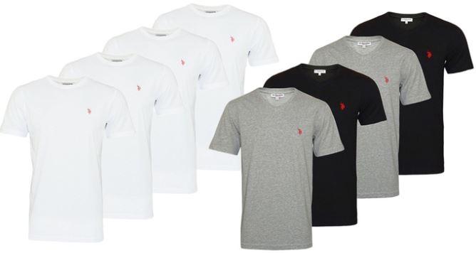 U.S. Polo ASSN. 4er Pack Herren T Shirts Rundhals V Ausschnitt