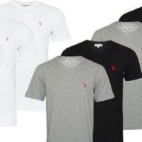 U.S. Polo ASSN. 4er Pack Herren T Shirts mit Rundhals oder V Ausschnitt in Weiss Grau oder Schwarz