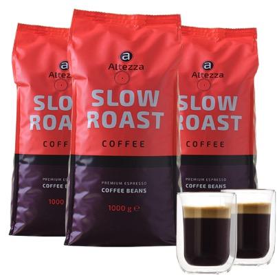 Altezza Slow Roast   Kaffeebohnen 3 kg  2 doppelwandige Kaffeeglaeser 260 ML 1