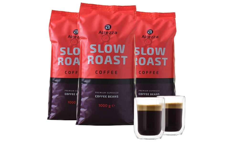 Altezza Slow Roast   Kaffeebohnen 3 kg  2 doppelwandige Kaffeeglaeser 260 ML