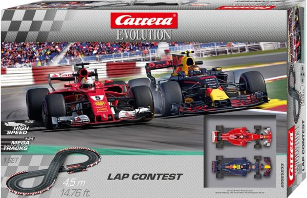 Carrera Autorennbahn Carrera Evolution 25233 Lap Contest Streckenlaenge 450 Meter mit zwei Formel 1 Rennwagen