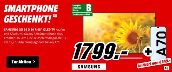 Samsung Gq65q80 65 Qled Uhd Tv Gratis Galaxy A70