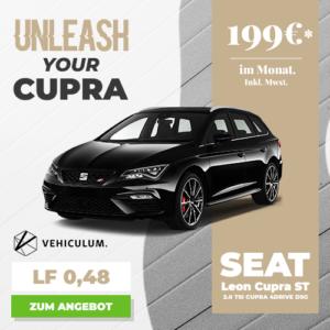 LF 0,48 😎 Seat Leon Cupra ST (300 PS, 4Drive, Automatik) für 199€ mtl.