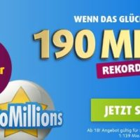 TOP 190 Mio  im EuroMillions Jackpot 3 Felder fuer 199  Lottoland Neukunden
