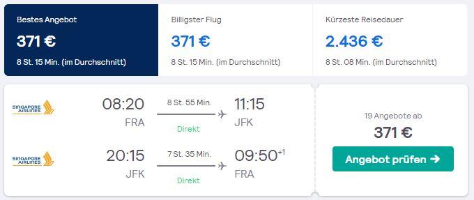 USA Direkt Fluege von Frankfurt nach New York ab 312