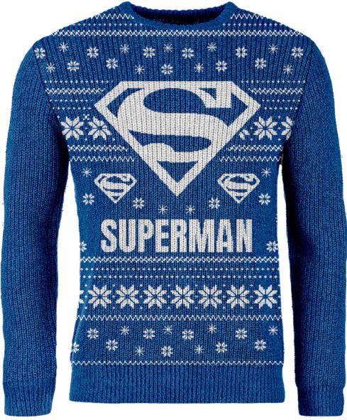 ZavviExclusiveSupermanStrick Weihnachtspullover Blue