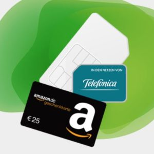 Mtl. kündbar 💥 o2 Allnet-Flat + 10GB LTE für 15€ mtl. + 25€ Amazon-GS