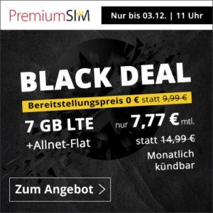 Black Week 📲 SIM-Only Angebote, z.B. Allnet-Flat + 7GB LTE für 7,77€ mtl.