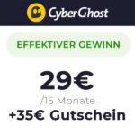 Mit 6€ Gewinn: CyberGhost VPN 👻 15 Monate für 29€ + 35€ Bonus