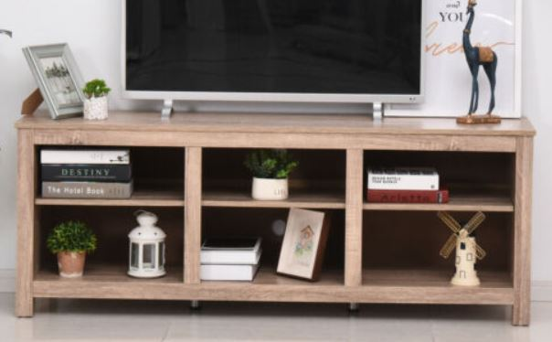 TV Schrank Lowboard Fernsehtisch mit viel Stauraum Spanplatte Natur