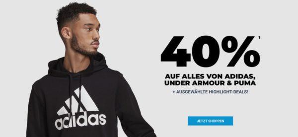 40% Rabatt auf Adidas, Puma und Under Armour