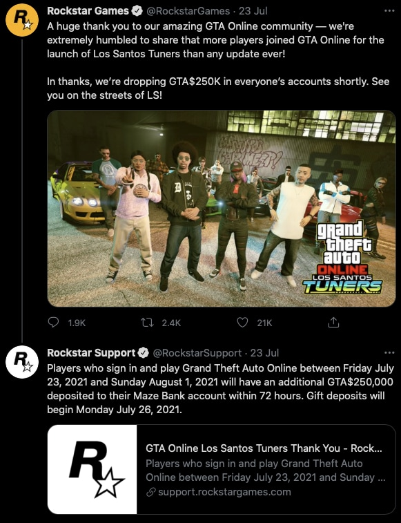 Rockstar Support on Twitter 22RockstarGames Players who sign in and play Grand Theft Auto Online between Friday July 23 2021  2021 07 26