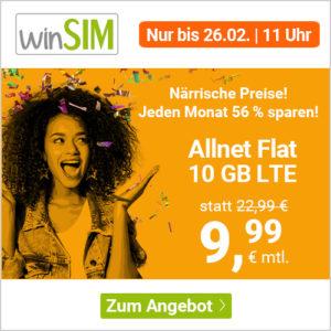 Bestpreis 💥 Drillisch o2 Allnet-Flat + 10GB LTE für 9,99€ (mtl. kündbar)