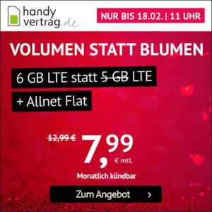 Mtl. kündbar 💥 Drillisch o2 Allnet-Flat + 6GB LTE für 7,99€ mtl.